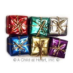 § Disc .70¢ Off - 6 Small Dollhouse Foil Wrapped Gifts - Product Image