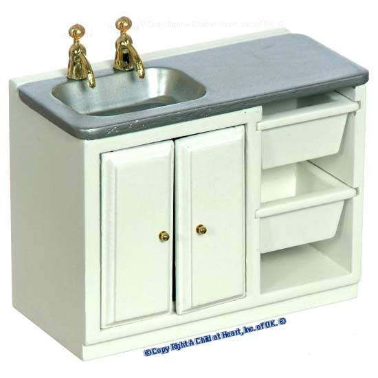 (§) Disc. $5 Off - Dollhouse Modern White Laundry Sink - Product Image