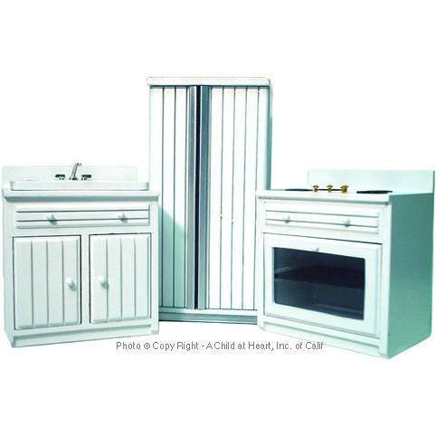 Dollhouse 3 pc modern white kitchen set for Kitchen set items